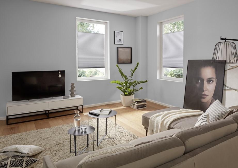 Plissee nach Maß grau - Wohnzimmer
