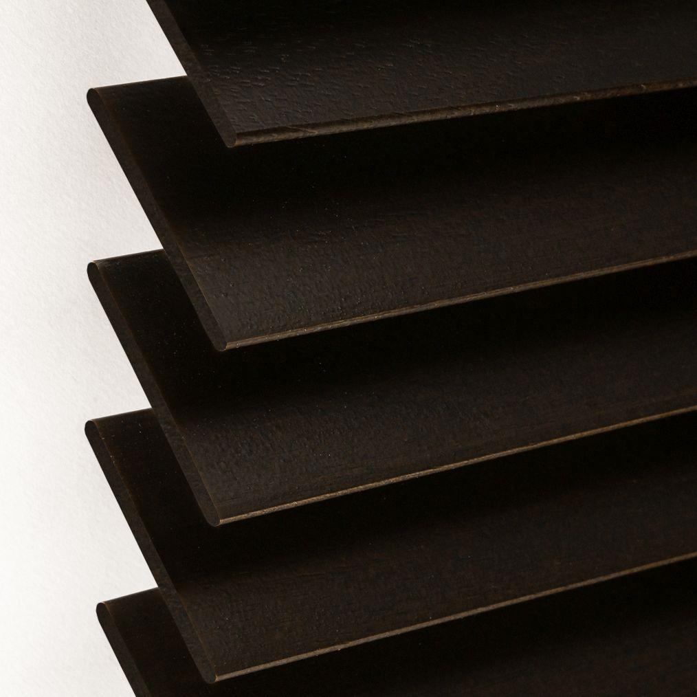 Holzjalousie nach Maß schwarzbraun Detailaufnahme
