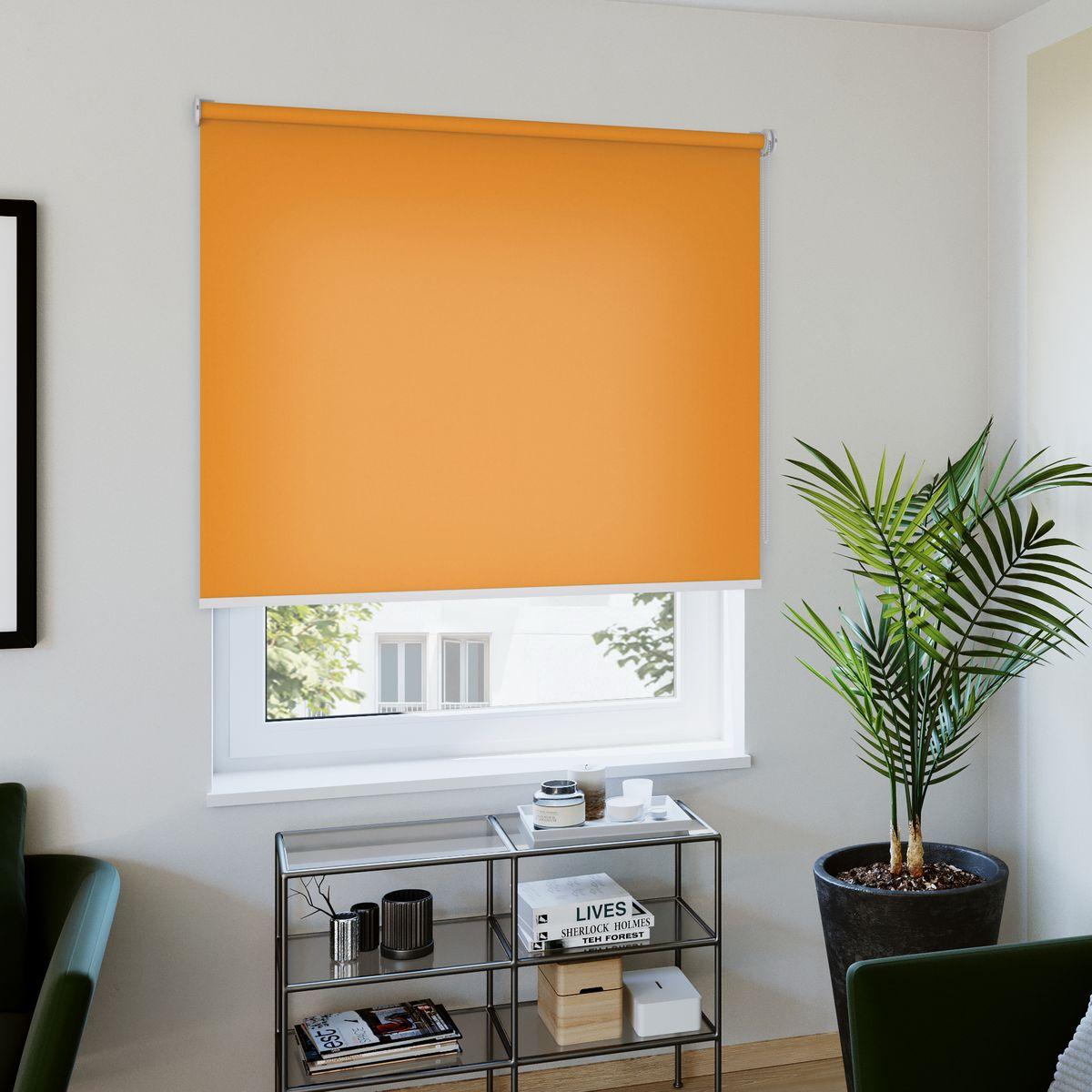 Rollo nach Maß orange Wohnzimmer